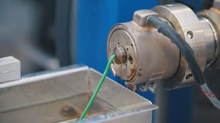 Extrusion manufacturing line - extruder, close up Standard-Bild