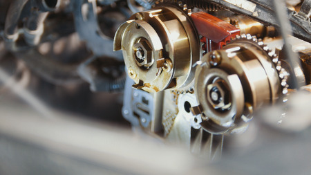 The internal combustion engine, repair at car service, details under the hood of the car, close-up Stock Photo