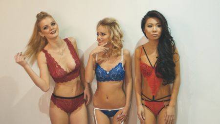 Three young women in underwear - fashion photosession