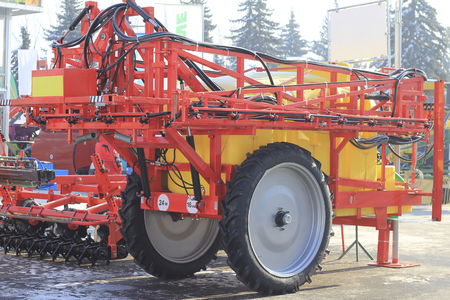 Sample of agricultural machinery at the agricultural exhibition