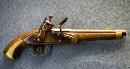 Russian military flint pistol of 19 century - close up