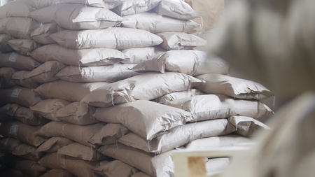 Big warehouse with bags at the pasta factory Stock Photo