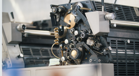Modern printing press machine in a printing house