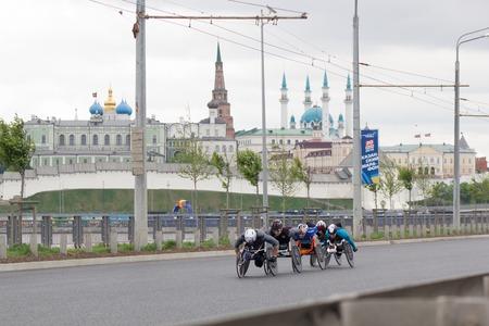 20 may 2018, Kazan, Russia - Kazan Marathon, disabled athletes in wheelchair racing