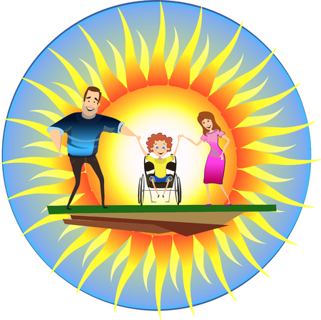 Happy family with disabled child on wheelchairs in front of the sun