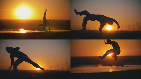 Fighter is engaged in capoeira in the background of an orange sunset - 4 in 1