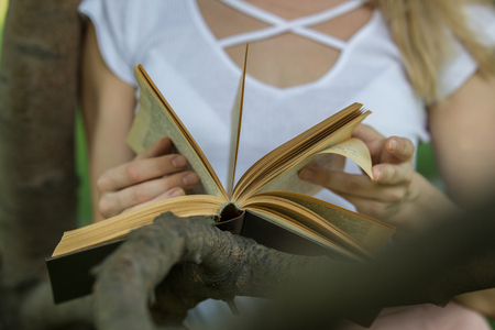 Female hands holding a book leaning on the tree branch in the park