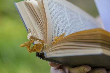 Vintage book with autumn leaf in female hands outdoors