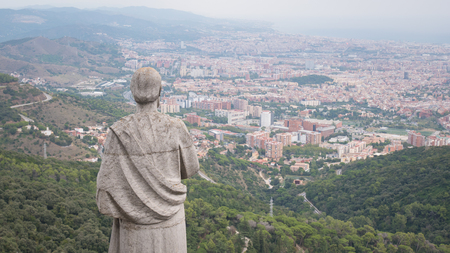Barcelona city aerial view. City overview. Breathtaking view