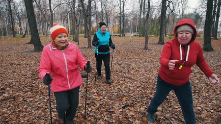 Two elderly women running on sticks of nordic walking Reklamní fotografie