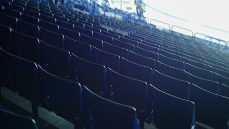 Preparing for a hockey match. Empty chairs