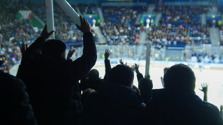 A group of young people watching hockey match. Ovation Stok Fotoğraf
