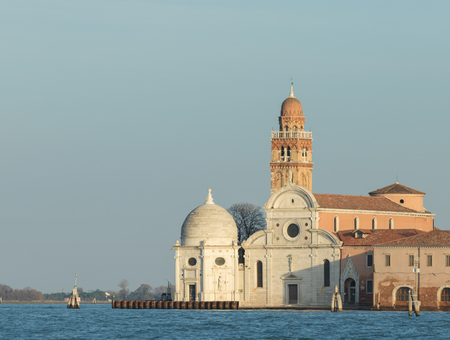 Historical building in Venice, Italy. Sea and blue sky