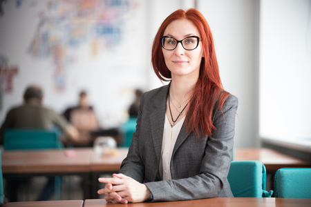 Education concept. Smiling ginger teacher woman sitting office