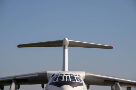 An outdoors airplane exposition - a passenger airplane - front view