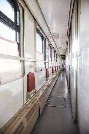 Interior view of russian corridor in the compartment in the train