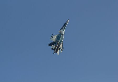 29 AUGUST 2019 MOSCOW, RUSSIA: Russian Air Force - A light green military fighter jet flying up in the sky