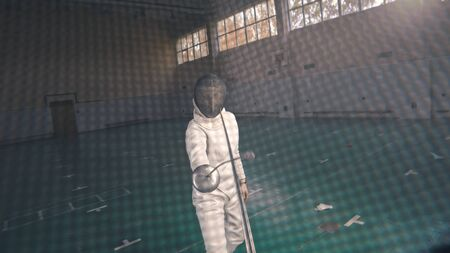 Young fencers with swords are fighting in the school gym