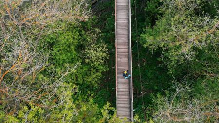 Young person in yellow hat walking on the rope bridge in the forest
