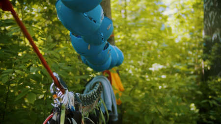 Insurance belts and helmets hanging on the rope in forest Standard-Bild