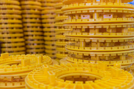 Yellow blocks for wires in the manufacturing centre