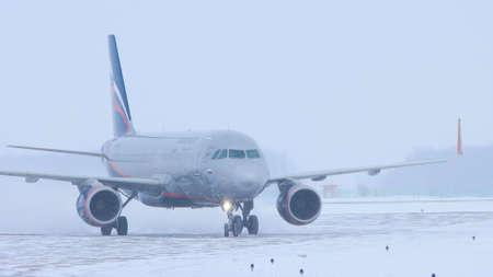10-02-2021 KAZAN, RUSSIA: AEROFLOT campaign plane on the runway field
