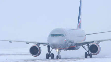 10-02-2021 KAZAN, RUSSIA: a big plane from AEROFLOT campaign on the runway Editorial