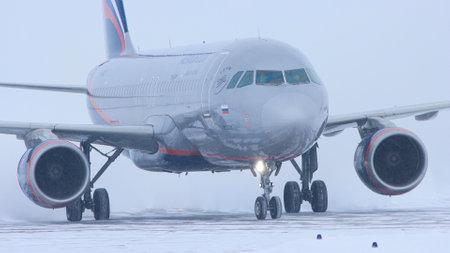 10-02-2021 KAZAN, RUSSIA: a big plane from AEROFLOT campaign on the runway field