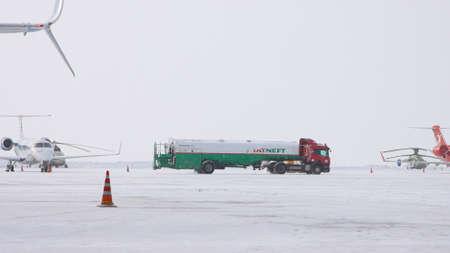 10-02-2021 KAZAN, RUSSIA, Kazan International Airport : a truck from TATNEFT campaign on the airport field