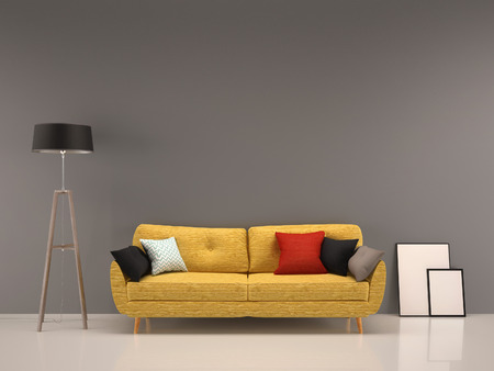 living room gray wall with yellow sofa-interior background Stock Photo