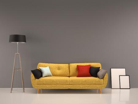 living room gray wall with yellow sofa-interior background Foto de archivo