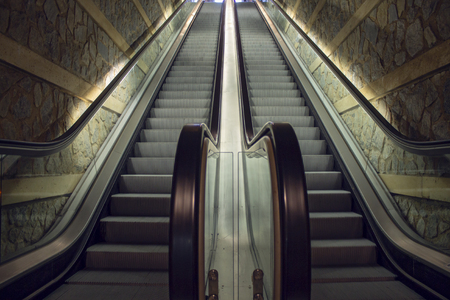 UNDERGROUND MECHANICAL STAIRS IN THE TRAIN STOP LOCATED IN TOLEDO, SPAIN