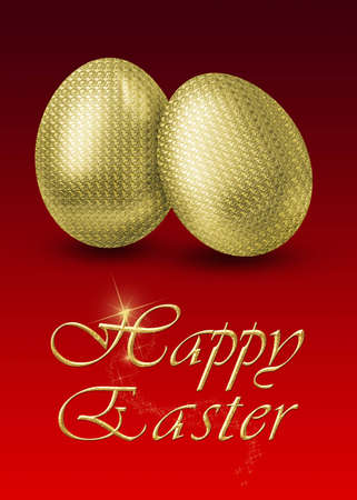 Glamourous illustration with 2 golden easter eggs on a red background