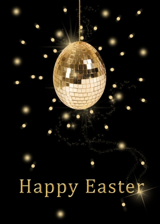A glamourous easter illustration  a hanging disco ball in a shape of an easter egg with shiny golden sequins on a black background  illustration