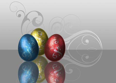 An elegant glamour easter illustration  Metalic style Easter eggs with silver swirls on an elegant white-grey background