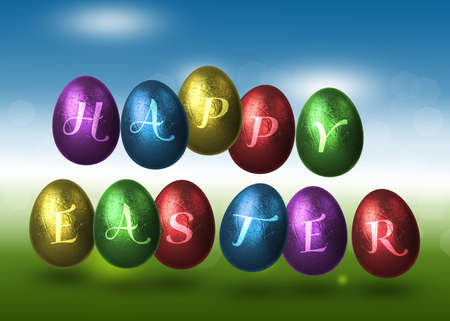 A colourful easter illustration  Metalic style coloured Easter eggs with  Happy Easter  lettering