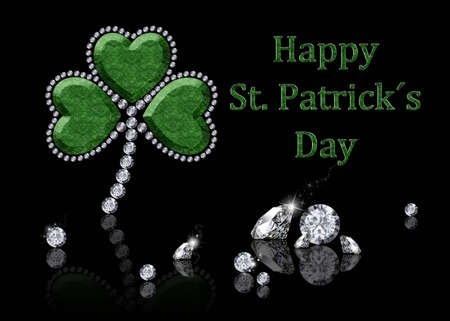 st patty day: A brilliant shamrock illustration  a shamrock made of diamonds on a black background  Stock Photo