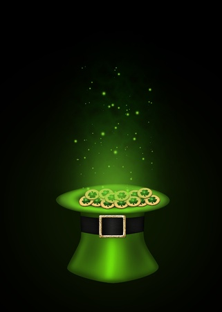 A magical St  Patrick´s Day illustration  Green top hat full with golden shamrock coins which are sparkling on a black background  Stock Photo