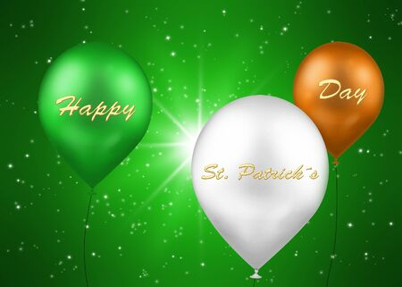 A St  Patrick´s Day illustration  3 balloons in the irish flag colour green, white, orange with the text  Happy St  Patrick´s Day  in gold letters on a green background with sparkling stars  illustration