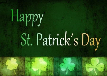 st  patty: A St  Patrick´s Day illustration  4 different shamrock shapes and  Happy St  Patrick´s Day  letters in the irish flag colours on a grungy green background  Stock Photo