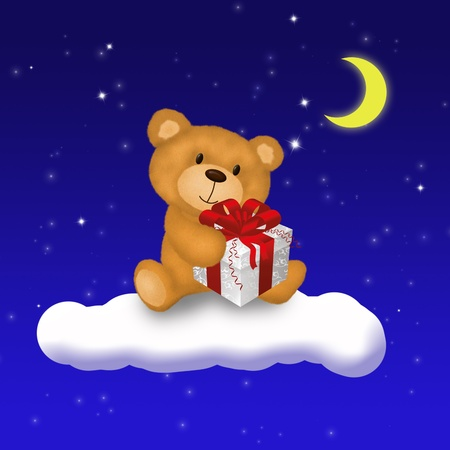 A cute Teddy Bear holding a gift box is sitting on a cloud in front of a blue night sky with bright stars and the shiny moon  Stock Photo