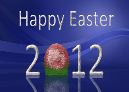 A glamourous Easter illustration  Silver  Happy Easter 2012  lettering with a glitter red egg on grass with an elegant blue background  Stock Photo
