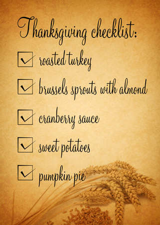 A Thanksgiving checklist illustration with wheat on a brown coloured background