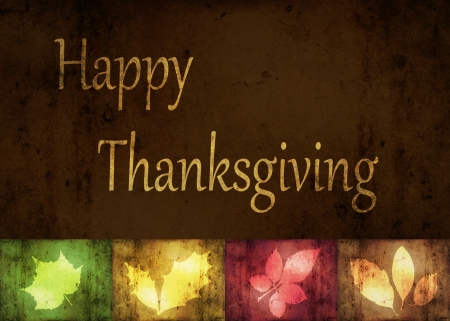 Thanksgiving Greetings, an abstract illustration with grunge autumn leaves  Stock Photo