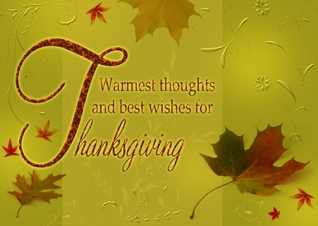 Thanksgiving Greetings, Thanksgiving wishes on an autumn illustration with leaves and floral ornaments on a green background