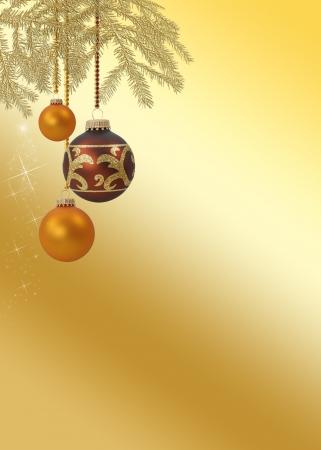 navidad elegante: Un noble y elegante de Navidad ilustraci�n de Navidad de oro con ramas de los �rboles cuelgan adornos de navidad sobre un fondo dorado