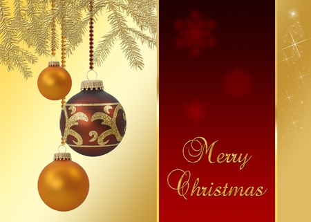 A noble and elegant Christmas illustration  golden christmas tree branches with hanging christmas baubles on a red-golden background with Merry Christmas wishes  Stock Photo
