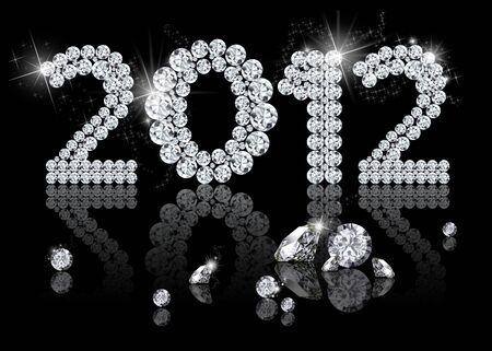 Brilliant New Year 2012, a diamond jewelry illustration on a black background