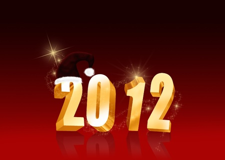 Christmas and New Year Illustration  Golden letters 2012 with a Santa hat on a red background