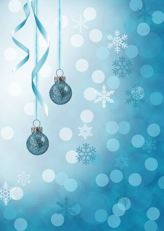 whiteblue: Christmas illustration in blue  Blue glitter ornaments with curled ribbons on a white-blue bokeh background  Stock Photo